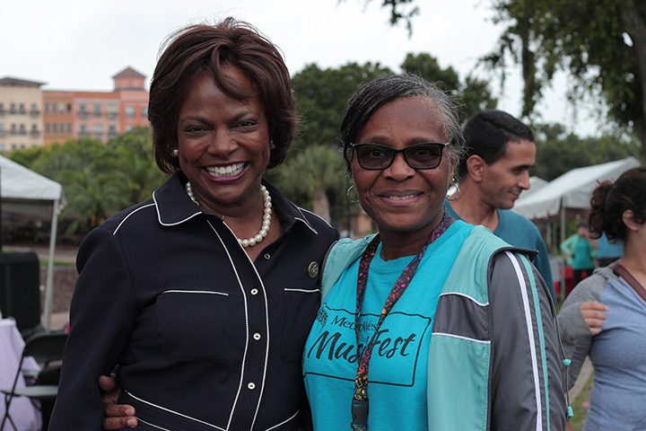 Congresswoman Val Demmings with another woman at Music Fest
