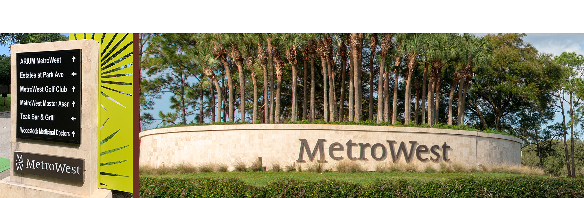 metro west sign at entrance