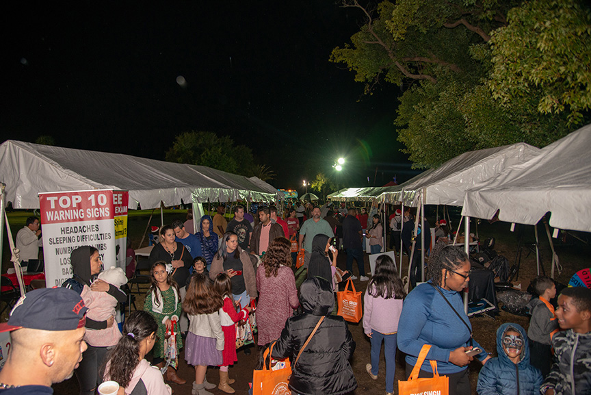 Crowd of shoppers at winter fest open air market