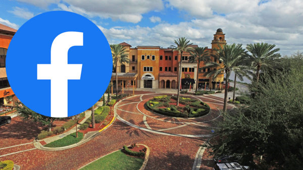 Facebook icon with Metrowest plaza in the background